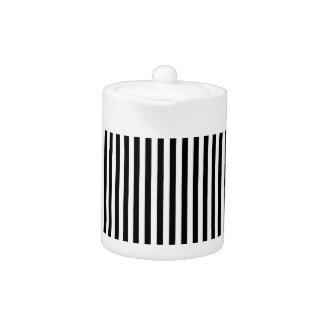 A Elegant Black and White Modern Stripes Teapot