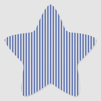 A Elegant Blue and White Nautical Stripes Star Sticker