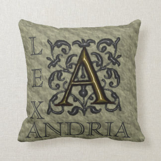 A- Embossed Vintage Monogram (Gold) Throw Pillow