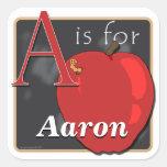 A está para Apple A está para Aaron Calcomania Cuadrada Personalizada