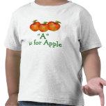 A está para Apple aprende deletrear la camiseta de
