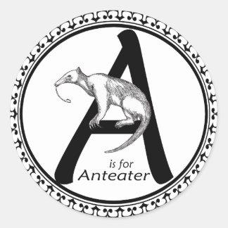 A está para el Anteater Pegatina Redonda