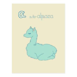 A está para la alpaca (azul) tarjetas postales