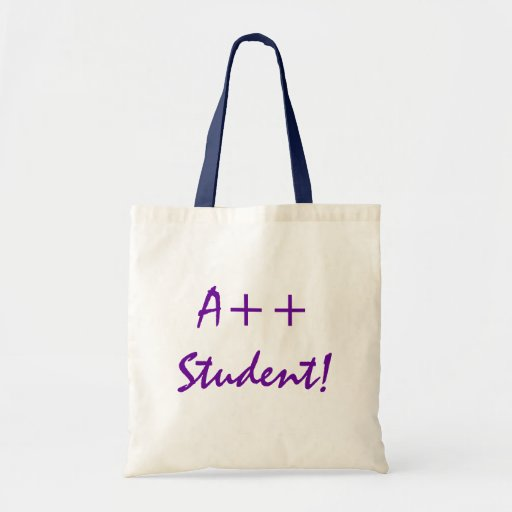 A++ Estudiante en púrpura y marina de guerra Bolsa Tela Barata