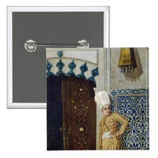 A eunuch before the door of the harem pinback button