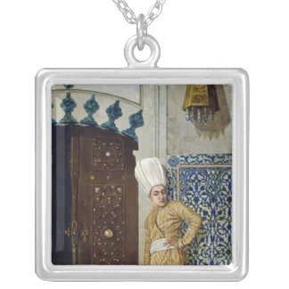 A eunuch before the door of the harem silver plated necklace