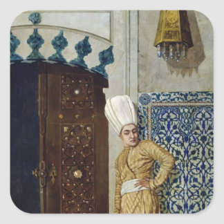 A eunuch before the door of the harem square sticker