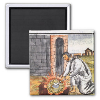 A European engaged in making a reliquary 2 Inch Square Magnet
