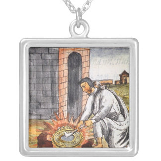 A European engaged in making a reliquary Silver Plated Necklace