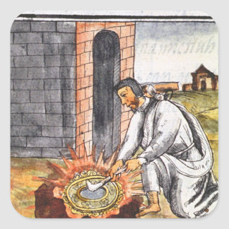 A European engaged in making a reliquary Square Sticker