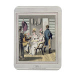 A European Lady, attended by a servant, using a ha Rectangular Photo Magnet