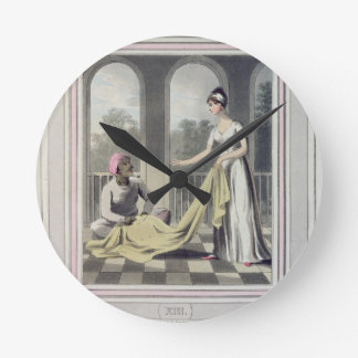 A European Lady giving instructions to her Durzee, Round Clocks