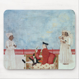A European Seated on a Terrace with Attendants Mouse Pad
