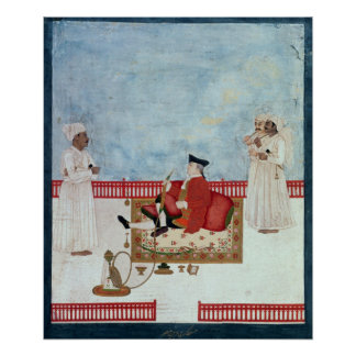 A European Seated on a Terrace with Attendants Poster