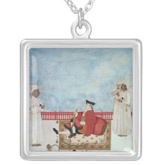 A European Seated on a Terrace with Attendants Silver Plated Necklace