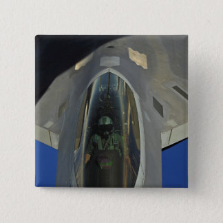 A F-22 Raptor receives fuel from a KC-135 Pinback Button