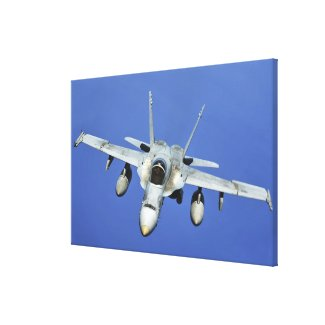 A F/A-18 Hornet participates in a mission Canvas Print