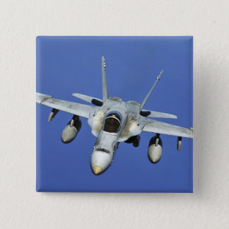 A F/A-18 Hornet participates in a mission Pinback Button