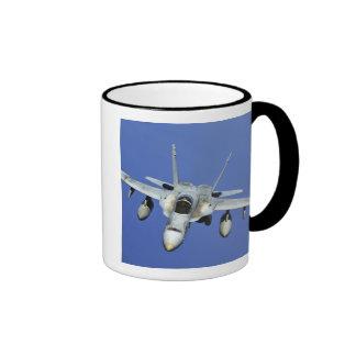 A F/A-18 Hornet participates in a mission Ringer Mug