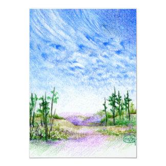 A Face In The Clouds Colored Pencil Landscape 5x7 Paper Invitation Card