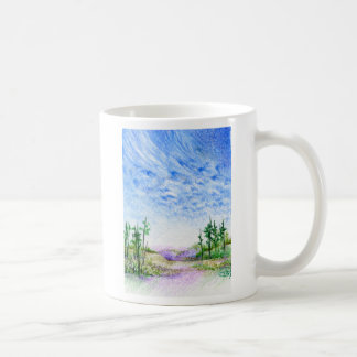 A Face In The Clouds Colored Pencil Landscape Coffee Mug