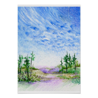 A Face In The Clouds Colored Pencil Landscape Poster
