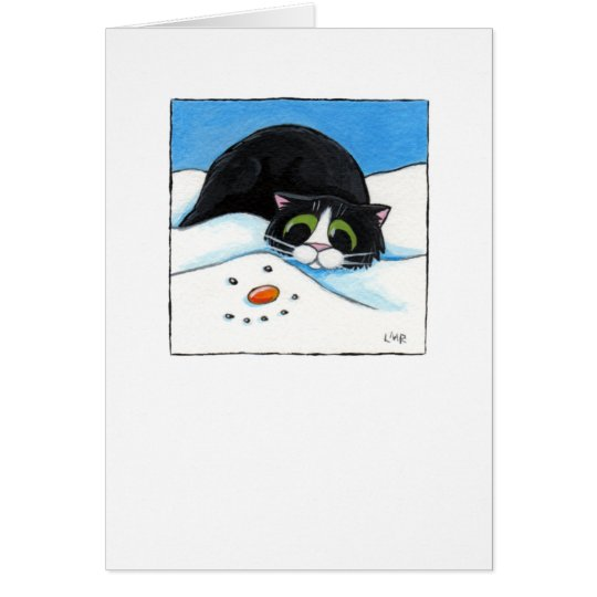 A Face in the Snow - Christmas Cat Card