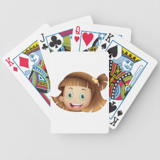 A face of a girl bicycle playing cards