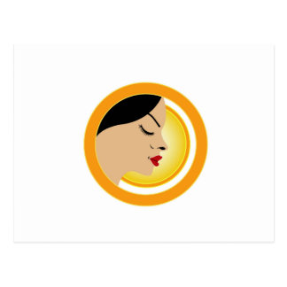 A face with a bright yellow sun- Sun tan Postcard