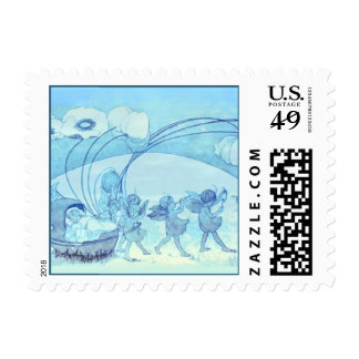 A Fairy Parade Across the Meadow Postage Stamp