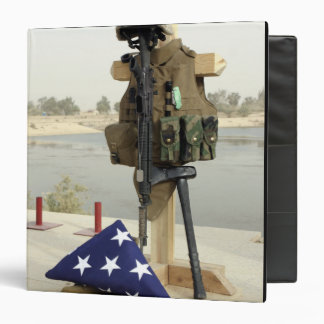 A fallen soldiers gear display 3 ring binder