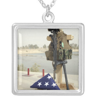 A fallen soldiers gear display square pendant necklace