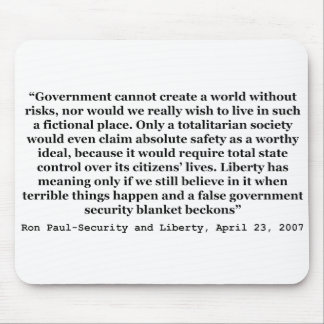 A False Government Security Blanket Quote Ron Paul Mouse Pad