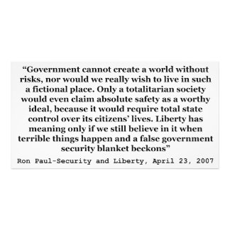 A False Government Security Blanket Quote Ron Paul Photo Print