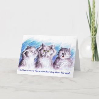 A Familiar Ring Cat Greeting Card