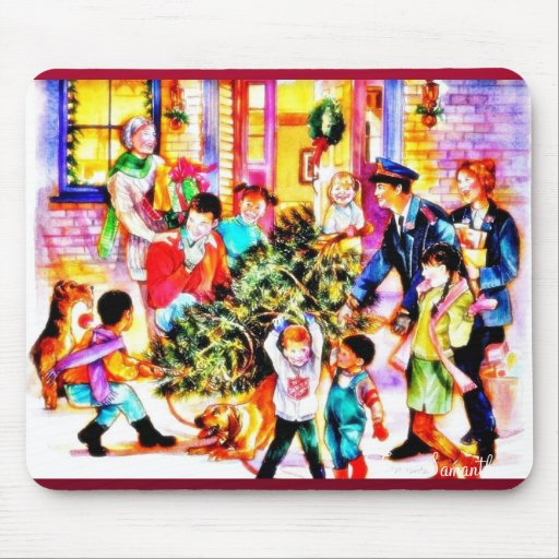 A family celebrates christmass by carrying christm mousepads