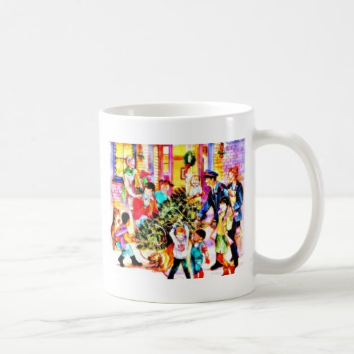 A family celebrates christmass by carrying christm mug