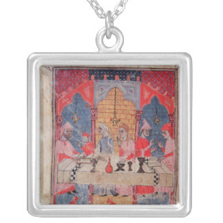 A family gathered at the table for Passover Square Pendant Necklace