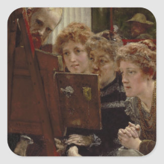 A Family Group, 1896 (oil on panel) Square Sticker