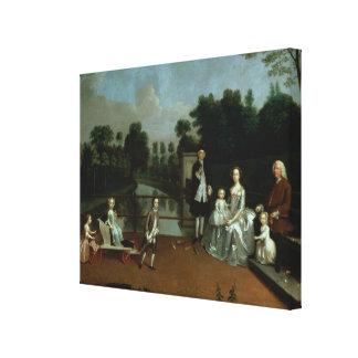 A Family Group on a Terrace in a Garden, 1749 Canvas Print