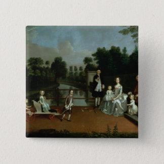 A Family Group on a Terrace in a Garden, 1749 Pinback Button