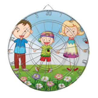 A family in the garden dartboards