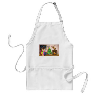 A family inside the room with a christmas tree adult apron