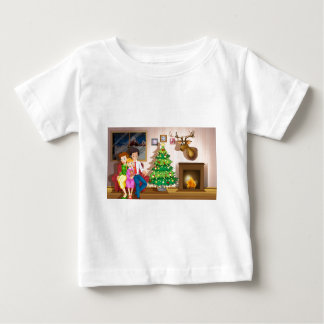A family inside the room with a christmas tree baby T-Shirt