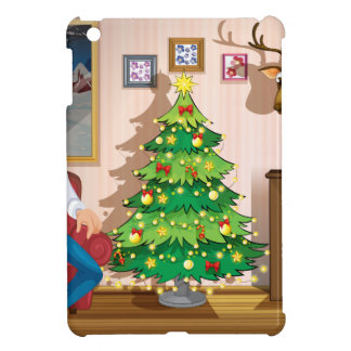 A family inside the room with a christmas tree iPad mini cover