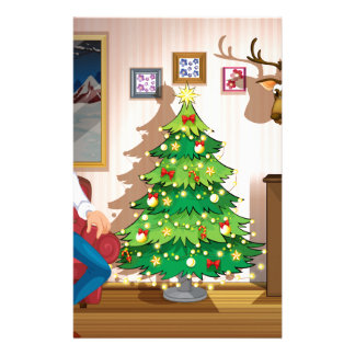 A family inside the room with a christmas tree stationery