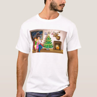 A family inside the room with a christmas tree T-Shirt