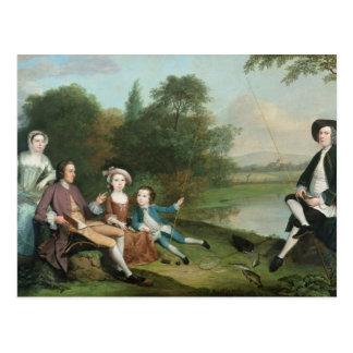 A family of Anglers, 1749 Postcard