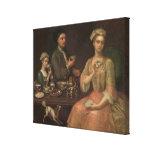 A Family of Three at Tea, c.1727 Canvas Print