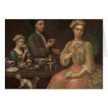 A Family of Three at Tea, c.1727 Card